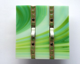 Double Toggle Wall Plate, Green Stained Glass, Lime Green Switchplate, Round Dimmer Switch, Light Switch Cover, Decorative Switch Plate,8236