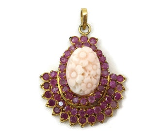 Pink Sapphire Jewelry - Carved Coral Pendant Necklace, Gold Gilt, India
