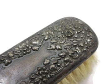Victorian Clothing Brush - Repousse Silver