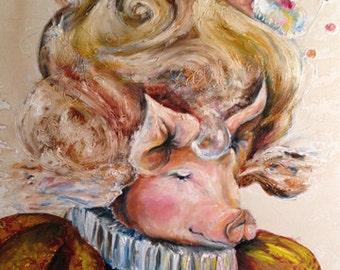 Marie Pig twa net - Coffee and Watercolor Victorian Steam Punk Fine art print, cupcake, queen, wig, mozart, swirl