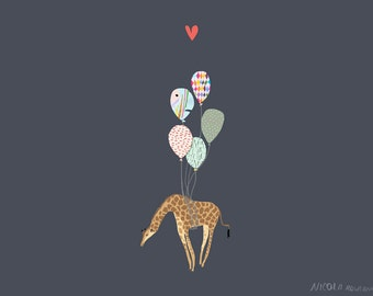 Giraffe with balloons a4 print * nursery artwork * new baby * illustration print