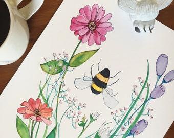 The Bee - Watercolor Garden - summer, zinnia, botanical, art print