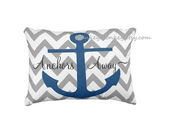 Personalized boat pillow 12x16 Nautical sail boat pillow toss pillow anchor beach theme ocean personalized chevron anchor nautical pillow