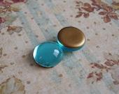 Vintage 11mm Aqua/Aquamarine Gold Foiled Flat Back Round Glass Cabs or Stones (12 pieces)