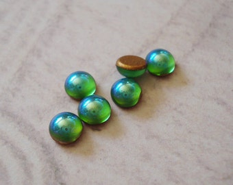 Vintage 5mm Peridot Green AB Gold Foiled Tiny Flat Back Round Glass Cabs or Stones (12 pieces)
