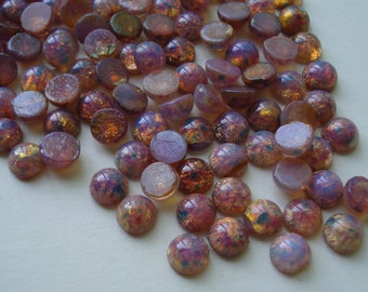 Czech 6mm Fire Opal Harlequin Unfoiled Round Flat Back Glass Cabs (12 pieces)