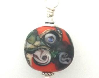 Small Lamp Work Glass Eye Bead Pendant #3