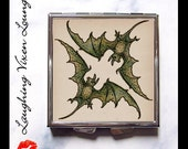 Bat Compact Mirror - Vampire Purse Accessories - Purse Mirror - Vintage Bat Style-N - Pill Case - Pill Holder - Makeup Mirror