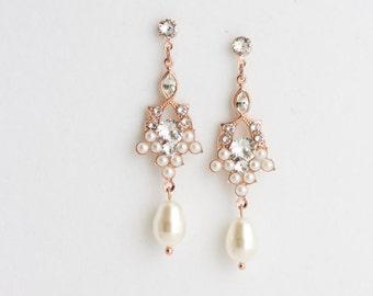 Pearl Drop Earrings Rose Gold Bridal Earrings Wedding Jewelry Art Deco Wedding Earrings Pink Gold Earrings OCTOBER