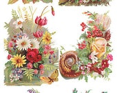 Self Adhesive Victorian Flowers 1 Sheet Colorful Scrapbooking Stickers  Number Y118