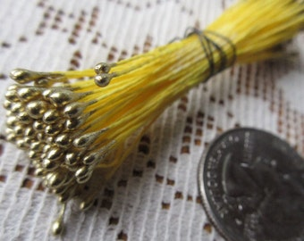 Millinery Flower Stamen Made In Germany Flower Peps 100 Stems Yellow And Gold Style 41 A