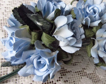 Paper Flowers 10 Millinery Country Roses  Light Blue