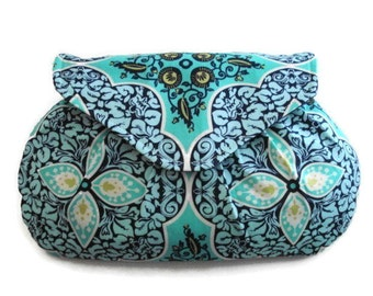 Turquoise Damask Clutch, Blue Purse, Small Handbag, Bridesmaids Gift