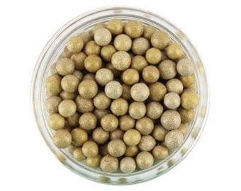 Pearly Tan Sugar Pearls - edible shimmer kraft brown sugar pearl sprinkles