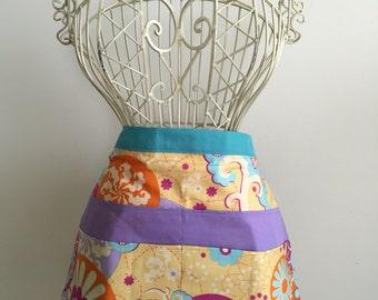 Apron Waist Half Art Craft Vendor Teacher iPad Device Purple Yellow Fabric (6 Pockets)