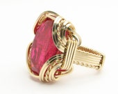 Handmade Solid 14kt Gold Wire Wrap Man Made Ruby Ring