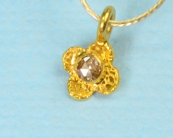 4.8mmx7mm 18k Solid Yellow Gold Rose Cut Champagne Diamond Flower Charm Pendant