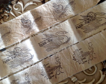 DESTASH 3 yards of 3 different trims -  Chandelier Swan Old script  and quill fountain pen