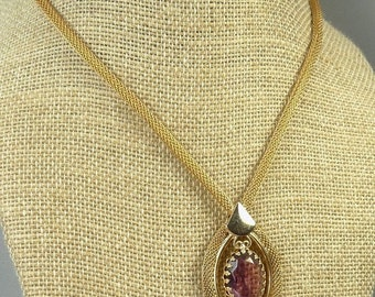 Vintage Amethyst Crystal Pendant Necklace Gold Plated Snake Chain