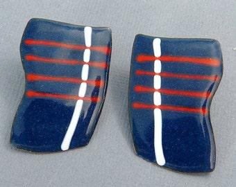 Mid Century Enamel On Copper Earrings Red White Blue Mod Design