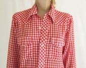Vintage 70's Gingham Check Western Shirt.