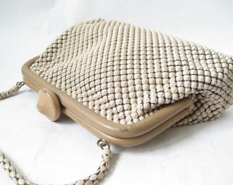 Vintage 40's WHITING and DAVIS Taupe Mesh Purse