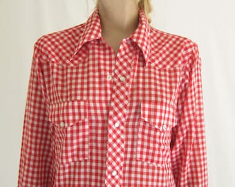 Vintage 70's Gingham Check Western Shirt.