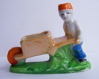 Vintage Ceramic with Lusterware Man with Cart Planter Figurine Pincushion