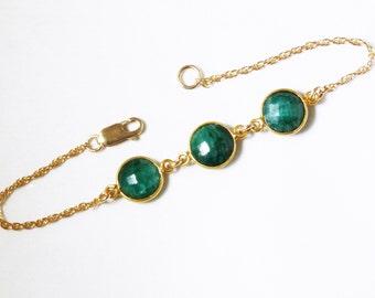 Green Emerald Bracelet Precious Emerald Bracelet Real Emeralds Genuine 3 Stone Emerald Bracelet 14k Gold Bezel May Birthstone BZ-B-106B-Em/g