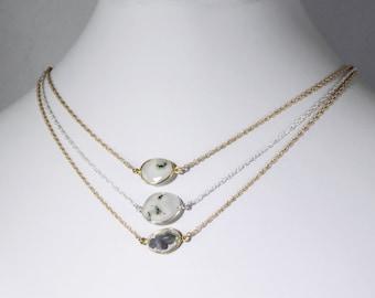 Solar Quartz Necklace Genuine Quartz Necklace 18k Gold Bezel Stone Necklace White Necklace Peacock Quartz One of a Kind Stone BZ-P-105-SQ/g