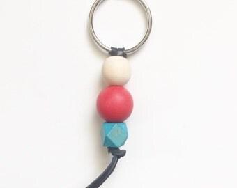 Wood bead keychain