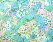 Vintage 1980's  Twin Size Flat Sheet,  Impressionist Look Flower Garden Design, Unused,  Vintage Bedding, Recycled Fabric,
