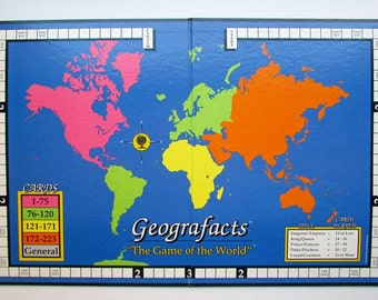 Vintage  Game Board, Message Board, Wall Decor, 1970's  Vintage  Geografacts World Map Colors Board, Geography Wall Decor, Map Decor