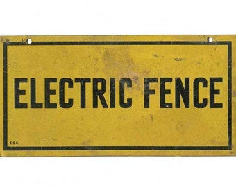 Vintage 1940 Small Tin Electric Fence Sign, Black and Yellow, Original Sign, Vintage Advertising, Vintage Sign