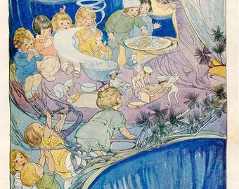 PRINT SALE 20% OFF Vintage 1920's Children and Fairies Eating Fairy Bread Illustration Print w Verse by Ruth M Hallock
