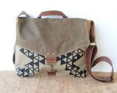 commuter • crossbody messenger bag - netural geometric print • screenprinted - brown waxed canvas - autumn orange canvas • vukani