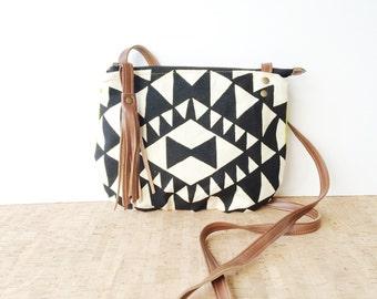 date purse  • small cross body purse - handprinted • black and white triangle geometric print - chartreuse canvas • vukani