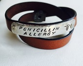 Three wrap medical alert leather bracelet with personalized pewter bar