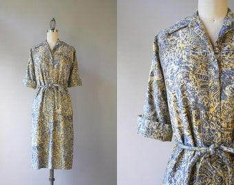 60s Dress / Vintage 1960s Belted Button Down Dress / Sixties Cotton Twill Printed Shirt Dress