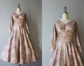 1950s Party Dress / Vintage 50s Pink and Gold Cotton Dress / Demure 1950s Full Skirt New Look Dress