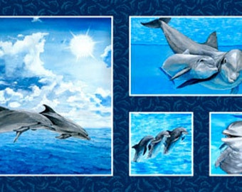 Dolphin Make a Splash Exclusively Quilters Fabric Panel
