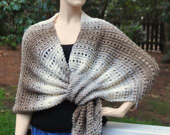 Hand Knit Keyhole Shawl Scarf, Taupe Cream Shawl,Pull Through Shawl, Self Fastening Shawl, Women Wrap, Original Design Shawl, Wool Blend