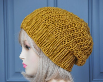 Gold Slouchy Hat, Knit Slouchy Beanie,Slouch Hat, Oversized Beanie, Chunky Wool Hat, Fall Hat, Knitted Women Hat, Winter Hat, Reversible Hat
