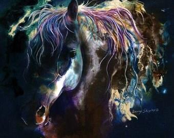 "8x10 Horse Art Print by Sherry Shipley ""MIDNIGHT STALLION"""