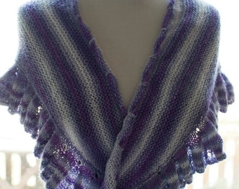 On Sale Handknitted Shawl in Purple and White