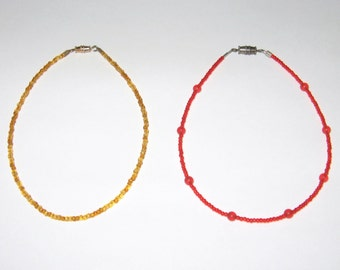 Pretty Glass Seed Bead Gold or Red Anklets, Pair