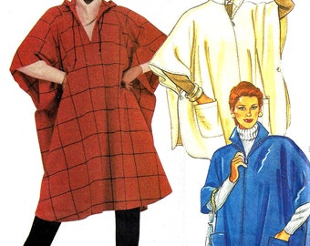1980s Poncho Pattern McCall's Easy Long Short Front Zip Hooded Vintage Sewing Women's Misses Size 6 - 20 Bust 30. 5 - 42 Inches