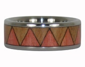 Pink Ivory and Eucalyptus Wood Tribal Ring