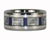 Lapis and White Carbon Fiber Titanium Ring