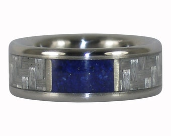 Blue Lapis and White Carbon Fiber Titanium Ring
